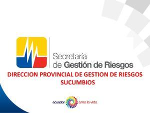 DIRECCION PROVINCIAL DE GESTION DE RIESGOS SUCUMBIOS