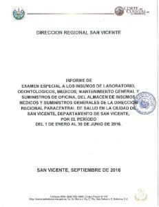 DIRECCION REG IONAL SAN VICENTE