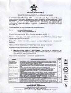 DIRECCION REGIONAL VALLE SOLICITUD PRECOTIZACIONES PARA ESTUDIO DE MERCADO