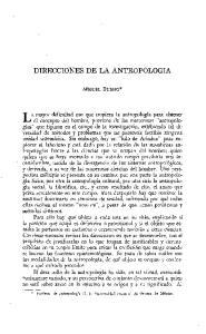 DIRECCIONES DE LA ANTROPOLOGIA