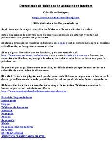 Direcciones de Tablones de Anuncios en internet