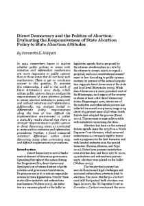 Direct Democracy and the Politics of Abortion: Evaluating the Responsiveness of State Abortion Policy to State Abortion Attitudes