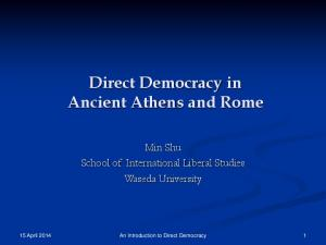 Direct Democracy in Ancient Athens and Rome