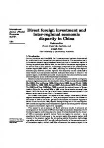 Direct foreign investment and inter-regional economic disparity in China
