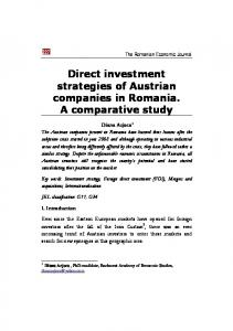 Direct investment strategies of Austrian companies in Romania. A comparative study