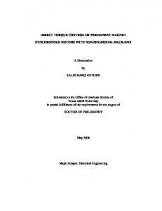 DIRECT TORQUE CONTROL OF PERMANENT MAGNET SYNCHRONOUS MOTORS WITH NON-SINUSOIDAL BACK-EMF. A Dissertation SALIH BARIS OZTURK