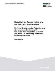 Direction for Conservation and Reclamation Submissions