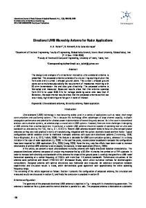 Directional UWB Microstrip Antenna for Radar Applications