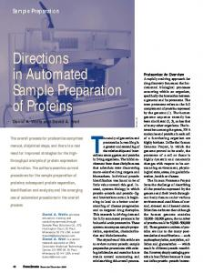 Directions in Automated. of Proteins. Sample Preparation. Sample Preparation. David A. Wells and David A. Weil