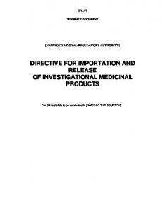 DIRECTIVE FOR IMPORTATION AND RELEASE OF INVESTIGATIONAL MEDICINAL PRODUCTS