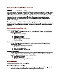 Director, Human Resources & Workforce Development