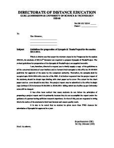 DIRECTORATE OF DISTANCE EDUCATION GURU JAMBHESHWAR UNIVERSITY OF SCIENCE & TECHNOLOGY HISAR