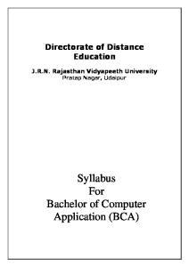 Directorate of Distance Education J.R.N. Rajasthan Vidyapeeth University Pratap Nagar, Udaipur