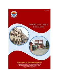 DIRECTORATE OF DISTANCE EDUCATION KURUKSHETRA UNIVERSITY KURUKSHETRA