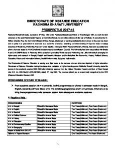 DIRECTORATE OF DISTANCE EDUCATION RABINDRA BHARATI UNIVERSITY PROSPECTUS