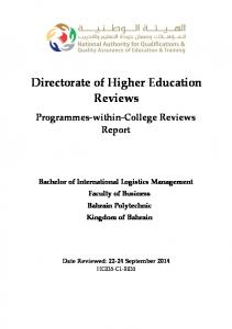 Directorate of Higher Education Reviews