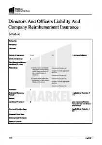 Directors And Officers Liability And Company Reimbursement Insurance