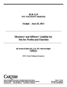 Directors and Officers Liability for Not-for-Profits and Charities