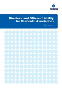 Directors and Officers Liability for Residents Associations. Policy document