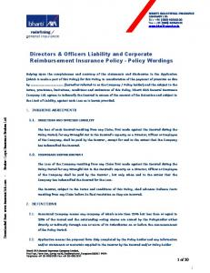 Directors & Officers Liability and Corporate Reimbursement Insurance Policy - Policy Wordings