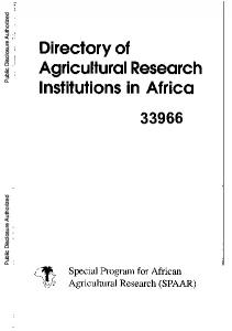 Directory of Agricultural Research Institutions in Africa