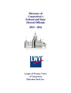 Directory of Connecticut s Federal and State Elected Officials