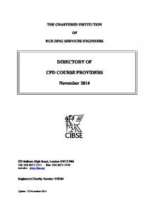 DIRECTORY OF CPD COURSE PROVIDERS. November 2014