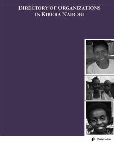 DIRECTORY OF ORGANIZATIONS IN KIBERA NAIROBI