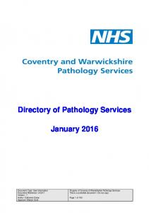 Directory of Pathology Services