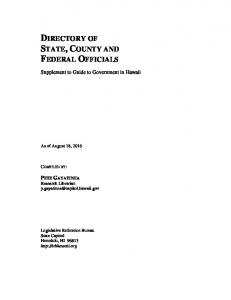 DIRECTORY OF STATE, COUNTY AND FEDERAL OFFICIALS