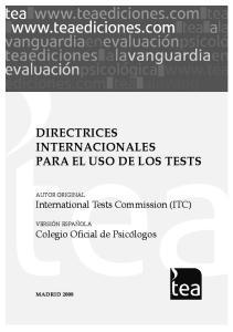 DIRECTRICES INTERNACIONALES PARA EL USO DE LOS TESTS