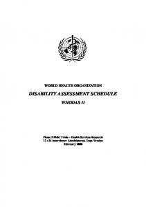 DISABILITY ASSESSMENT SCHEDULE