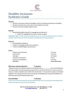 Disability Awareness: Facilitator s Guide