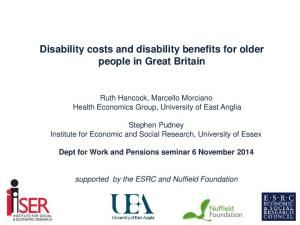 Disability costs and disability benefits for older people in Great Britain