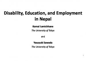 Disability, Education, and Employment in Nepal