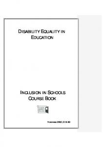 DISABILITY EQUALITY IN EDUCATION