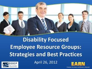 Disability Focused Employee Resource Groups: Strategies and Best Practices