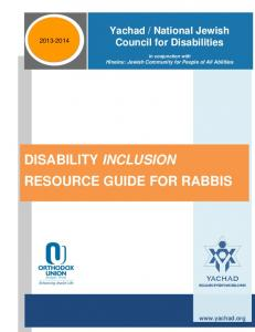 DISABILITY INCLUSION RESOURCE GUIDE FOR RABBIS