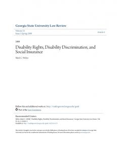 Disability Rights, Disability Discrimination, and Social Insurance