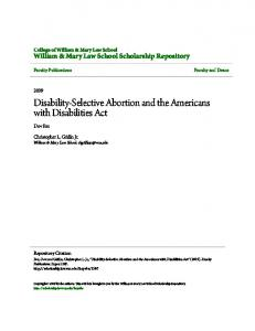 Disability-Selective Abortion and the Americans with Disabilities Act