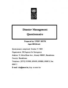 Disaster Management Questionnaire