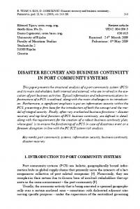 DISASTER RECOVERY AND BUSINESS CONTINUITY IN PORT COMMUNITY SYSTEMS