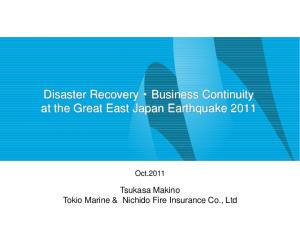Disaster Recovery Business Continuity at the Great East Japan Earthquake 2011