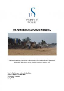 DISASTER RISK REDUCTION IN LIBERIA