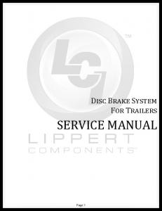 Disc Brake System For Trailers SERVICE MANUAL. Rev: Page 1 Disc Brakes Service Manual