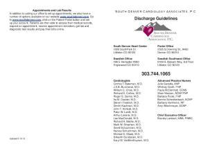 Discharge Guidelines. South Denver Cardiology Associates, P.C