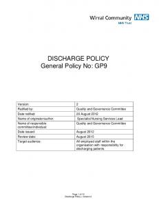 DISCHARGE POLICY General Policy No: GP9