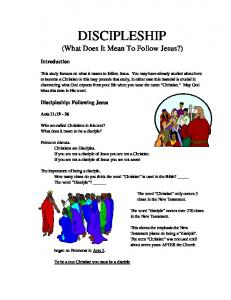 DISCIPLESHIP (What Does It Mean To Follow Jesus?)