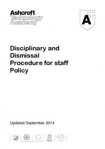 Disciplinary and Dismissal Procedure for staff Policy