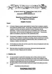 Disciplinary and Grievance Procedure for Playgroup Employees